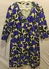 BODEN Multi Floral Print Silk V Neck Dress 3/4 Sleeve Sz 6        A1