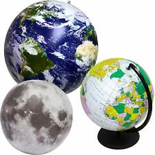 Inflatable Globes and Moon 3 Pack Feature Views of Planet Earth and Lunar Ground