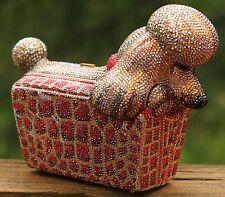 JUDITH LEIBER POODLE IN A PURSE DOG SWAROVSKI CRYSTAL MINAUDIERE SHOULDER BAG