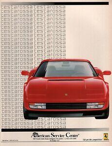 1990 Ferrari Testarossa Original Color Dealer Ad