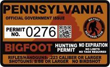 "4"" Pennsylvania Pa Bigfoot Hunter Hunting Permit Sticker Sasquatch Vinyl Decal"