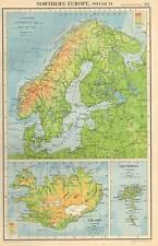 Antique Map 1947 Bartholomew Northern Europe Physical