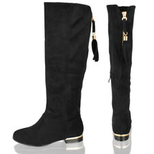 Womens Ladies Knee High Mid Calf Tassel Low Heel Suede Black Navy Boots Shoes