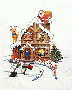 """Bucilla Christmas Heirloom """"Candy Cane Cottage"""" Counted Cross Stitch Kit"""