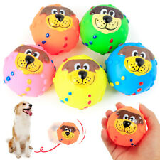 PW_ FT- ALS_ Pet Puppy Dog Face Ball Molar Throwing Training Soft Squeak Sound