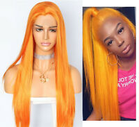 Ginger Orange Color Yellow Long Straight Synthetic Hair Lace Front Wigs Copslay