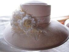 new RENEGADE Bridal Dress Formal Derby WESTERN felt fur hat  floral pearl ribbon