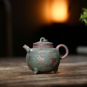 handmade tea pot with three legs master pot marked true yixing zisha green clay
