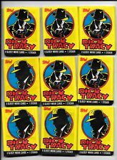 DICK TRACY trading cards NINE unopened packs = 72 cards and 9 stickers