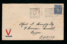 AUSTRALIA to BURMA 1941 WW2 CONSULAR MAIL GALVERT to HENNESSY..V for VICTORY ENV