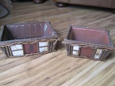 Rustic Wood Decorative Crate Boxes with plastic liners - Set of 2 Birch Bark