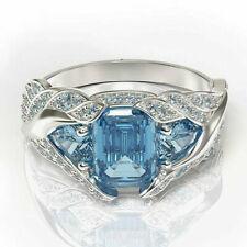 Women 925 Silver Jewelry Aquamarine & White Sapphire Wedding Ring Size 10