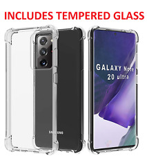 For Samsung Galaxy Note 20 Ultra Clear Case Slim Gel & Glass Screen Protector