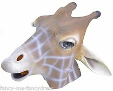 Mens Ladies Giraffe Rubber Face Mask Animal Halloween Fancy Dress Costume Outfit
