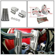 2 x Silver Aluminum Motorcycle 1 1/8'' Handlebar Rise Kit Bar Mount Riser Clamps