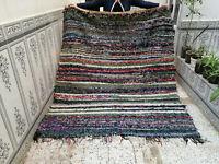 Handmade Vintage Beni Ourain Boucherouite Rug Azilal Berber Moroccan Rug