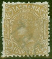 Tasmania 1871 4d Buff SG153 P.12 Fine & Fresh Mtd Mint Large Part O.G.
