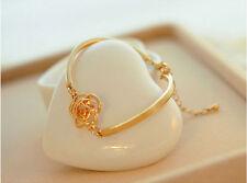 Fashion Women Crystal Flower Bangle Gold Filled Cuff Chain Bracelet Jewelry,HOT