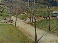 Theo SCHARF 1899 - ? - Landscape IN The Alps With Wayside Cross Bavaria Austria?