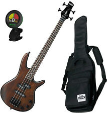 Ibanez Mikro 4 String Bass GSRM20 Walnut Flat w/ Gig Bag and Tuner