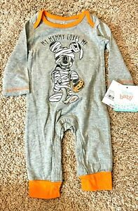 Mickey Mouse Baby Boy Halloween Bodysuit MY MUMMY LOVES ME Glows Size 0 3 Month