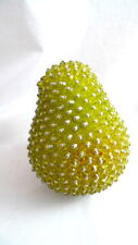 1 Vintage BEADED GREEN PEAR Artificial Fake Fruit Home Decor Table Display Prop