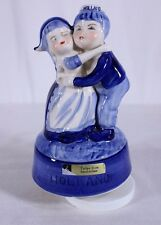 Porcelain Holland Boy and Girl Music Box Dance Tulips From Amsterdam Blue White