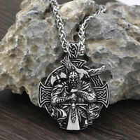 Norse Viking Odin Thor With Sword Cross Pendant Necklace Stainless Steel Chain