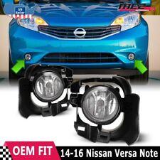 For 14-16 Nissan Versa Note Winjet Factory Fit Fog Light Bumper Kit Clear Lens