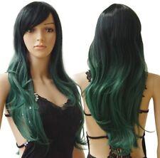 """Peluca Cosplay Verde Oscuro Aprox 24 """"cabello Largo Ondulado Con Flecos Disfraz"""