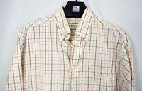 ORVIS Plaid Shirt MEN'S Medium Long Sleeve Button Down White L/S Red Blue Check