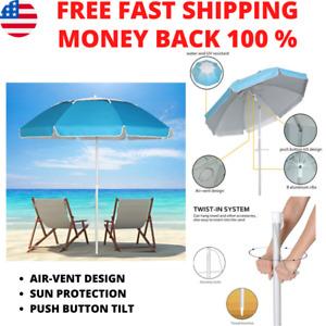 7 Ft Blue Tilt Beach Umbrella Portable Carry Case Sand Anchor Sun Shade Canopy