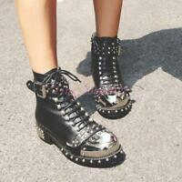 Punk Women Shoes Rivet Studded Zip Lace Up Leather Buckle Block Heel Ankle Boots