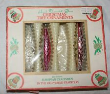 Vtg Tear Drop Icicle Glass Hand Decorated Christmas Ornaments Commodore Romania