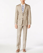 $845 CALVIN KLEIN men BEIGE SLIM-FIT 2 PIECE SUIT COAT JACKET PANTS BLAZER 42 L