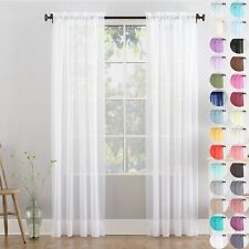 A pair of high quality Voile Curtain 2 Panels Slot Top solid sheer