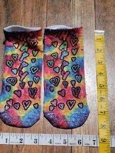 HAPPY Hearts Rainbow Women's low cut no show Socks made with glitter thread