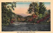 TN, Tennessee    SWINGING BRIDGE  Creek Near Mt Leconte   c1940's Linen Postcard