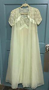 VTG Peignoir Set Shadowline Green Nightgown Robe Sheer Nylon Lingerie Negligee