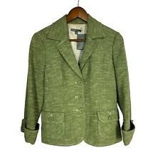 Ann Taylor Green Tweed Cotton 3/4 Sleeve Blazer Jacket women's size 6