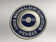 Vintage AMOA National Dart Association Member 89 90 Patch Blue White Round Sew A