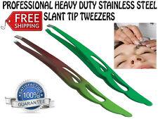 HEXA PRO DESIGN SLANT TIP TWEEZERS EYEBROW TWEZER PLUCKER PULLER STAINLESS STEEL