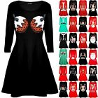 Womens Ladies Xmas Christmas Pudding Cup Cakes Boobs Funny Novelty Swing Dress
