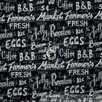 BonEful Fabric FQ Cotton Quilt Black White B&W Word Rooster Coffee Farm Egg Sale