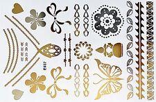 Flash Einmal Temporary Klebe Tattoo Gold Silber 19teile Body Armband Kette E37