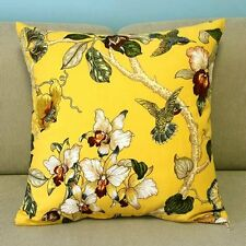 Cartoon Pillow Case Cushion Cover Yellow Birds Flowers Trees Square 45cm Pt176