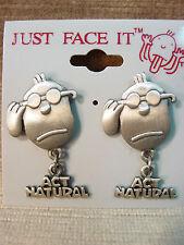 JJ Jonette Jewelry Silver Pewter ACT NATURAL Face Pierced Earrings by J. Benton