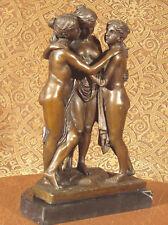 *Real Bronze Metal Statue / Stone Nude Women Lesbian Art Love 3 Graces Sculpture