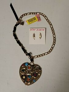Betsey Johnson Large Heart Necklace and Feather Earing Set