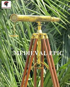 Medieval Epic Floor Standing Harbor Master Brass Telescope with Tripod Stand